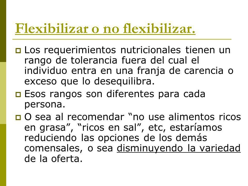 Flexibilizar o no flexibilizar. Los requerimientos nutricionales tienen un rango de tolerancia fuera del cual el individuo entra en una franja de care