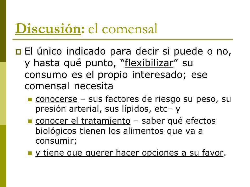 Discusión: el comensal El único indicado para decir si puede o no, y hasta qué punto, flexibilizar su consumo es el propio interesado; ese comensal ne
