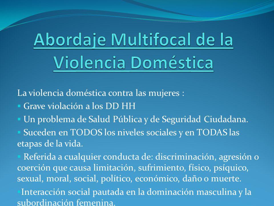 La violencia doméstica contra las mujeres : Grave violación a los DD HH Un problema de Salud Pública y de Seguridad Ciudadana. Suceden en TODOS los ni