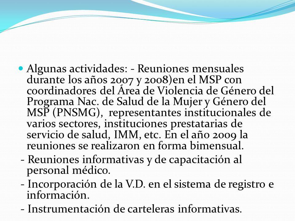 Algunas actividades: - Reuniones mensuales durante los años 2007 y 2008)en el MSP con coordinadores del Área de Violencia de Género del Programa Nac.