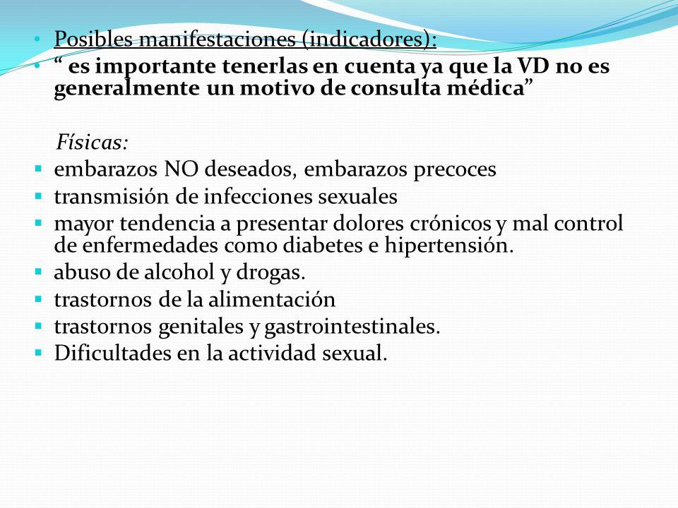 Posibles manifestaciones (indicadores): es importante tenerlas en cuenta ya que la VD no es generalmente un motivo de consulta médica Físicas: embaraz