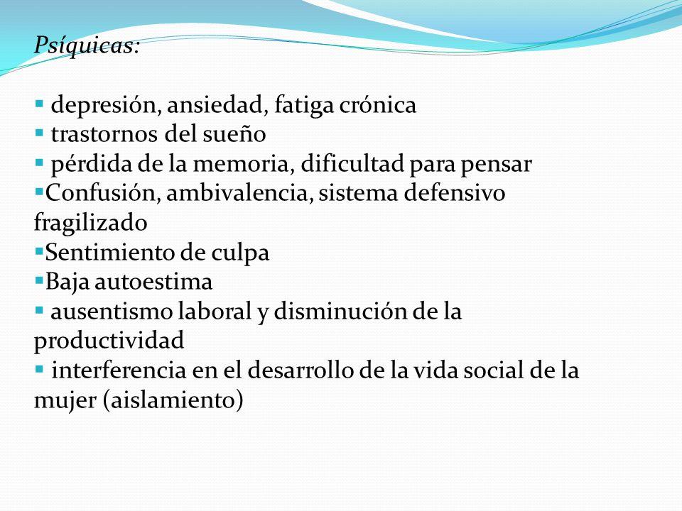 Psíquicas: depresión, ansiedad, fatiga crónica trastornos del sueño pérdida de la memoria, dificultad para pensar Confusión, ambivalencia, sistema def