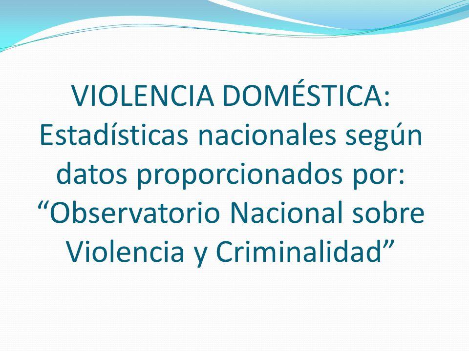 VIOLENCIA DOMÉSTICA: Estadísticas nacionales según datos proporcionados por: Observatorio Nacional sobre Violencia y Criminalidad