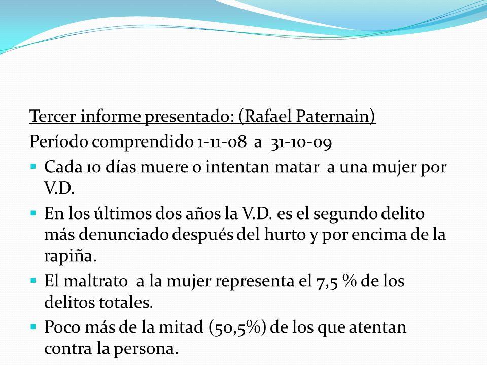 Tercer informe presentado: (Rafael Paternain) Período comprendido 1-11-08 a 31-10-09 Cada 10 días muere o intentan matar a una mujer por V.D. En los ú