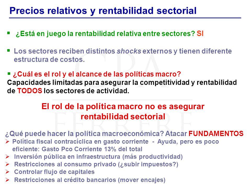 Precios relativos y rentabilidad sectorial ¿Está en juego la rentabilidad relativa entre sectores.