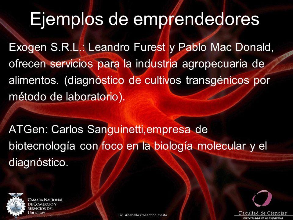 Ejemplos de emprendedores Exogen S.R.L.: Leandro Furest y Pablo Mac Donald, ofrecen servicios para la industria agropecuaria de alimentos. (diagnóstic
