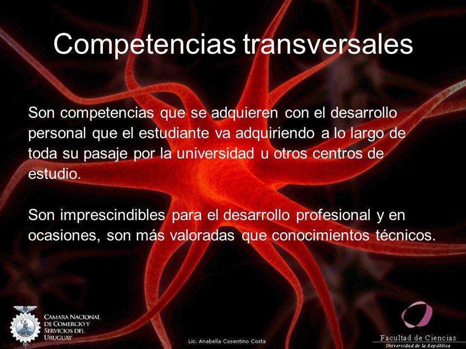 Competencias transversales Son competencias que se adquieren con el desarrollo personal que el estudiante va adquiriendo a lo largo de toda su pasaje por la universidad u otros centros de estudio.