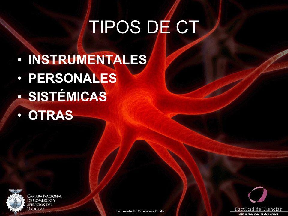 TIPOS DE CT INSTRUMENTALES PERSONALES SISTÉMICAS OTRAS