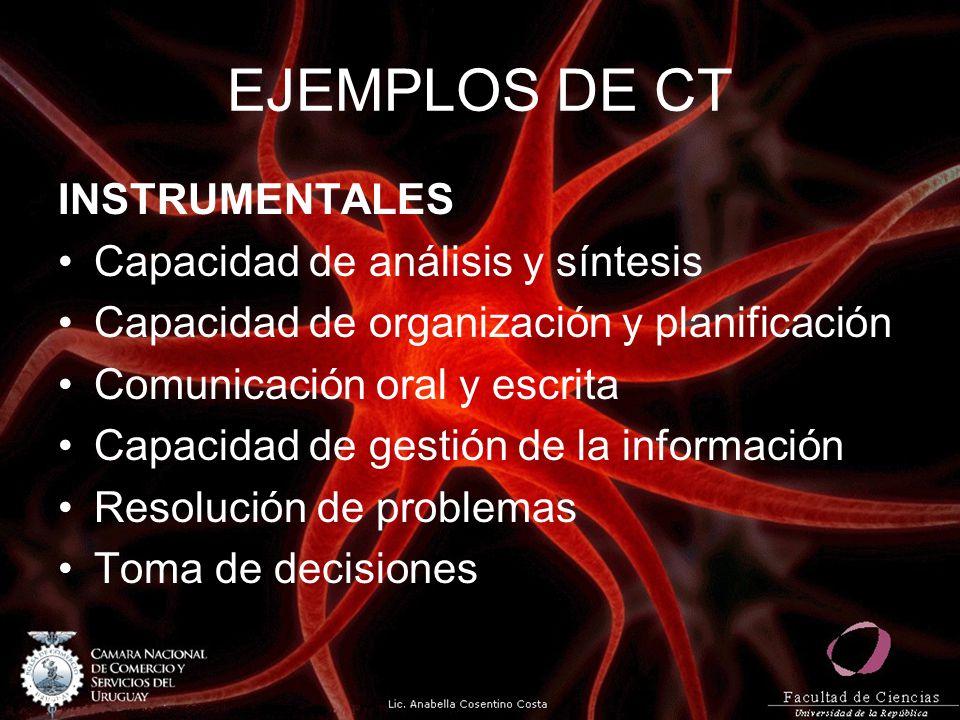 EJEMPLOS DE CT INSTRUMENTALES Capacidad de análisis y síntesis Capacidad de organización y planificación Comunicación oral y escrita Capacidad de gestión de la información Resolución de problemas Toma de decisiones