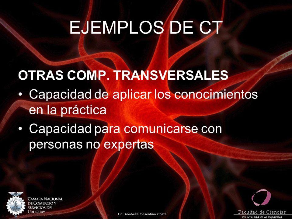 EJEMPLOS DE CT OTRAS COMP. TRANSVERSALES Capacidad de aplicar los conocimientos en la práctica Capacidad para comunicarse con personas no expertas