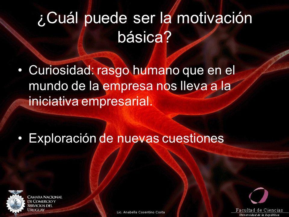 ¿Cuál puede ser la motivación básica? Curiosidad: rasgo humano que en el mundo de la empresa nos lleva a la iniciativa empresarial. Exploración de nue