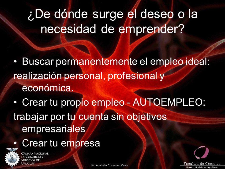 ¿De dónde surge el deseo o la necesidad de emprender? Buscar permanentemente el empleo ideal: realización personal, profesional y económica. Crear tu
