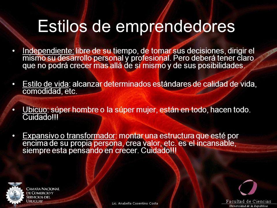 Estilos de emprendedores Independiente: libre de su tiempo, de tomar sus decisiones, dirigir el mismo su desarrollo personal y profesional. Pero deber