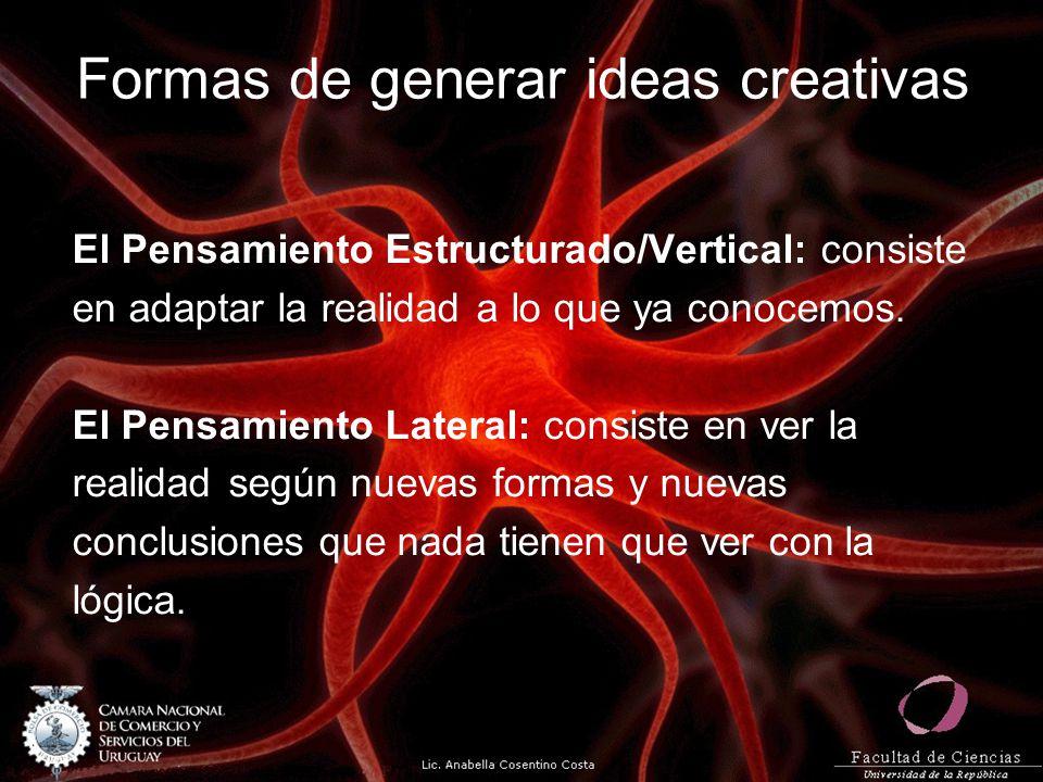 Formas de generar ideas creativas El Pensamiento Estructurado/Vertical: consiste en adaptar la realidad a lo que ya conocemos. El Pensamiento Lateral:
