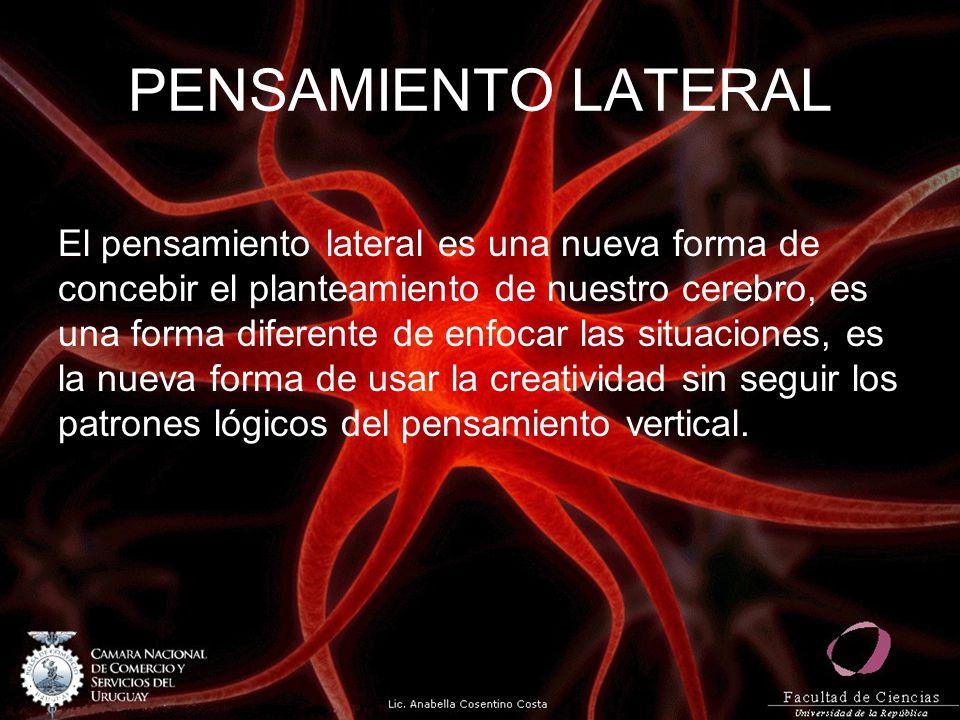 PENSAMIENTO LATERAL El pensamiento lateral es una nueva forma de concebir el planteamiento de nuestro cerebro, es una forma diferente de enfocar las s