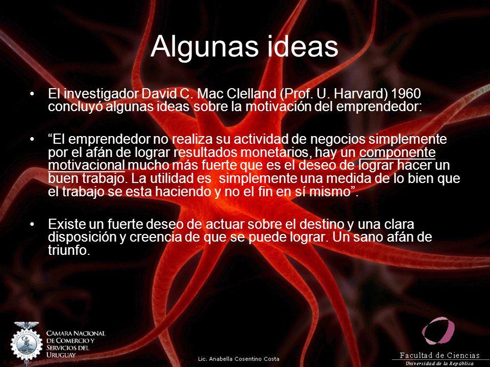 Algunas ideas El investigador David C. Mac Clelland (Prof. U. Harvard) 1960 concluyó algunas ideas sobre la motivación del emprendedor: El emprendedor