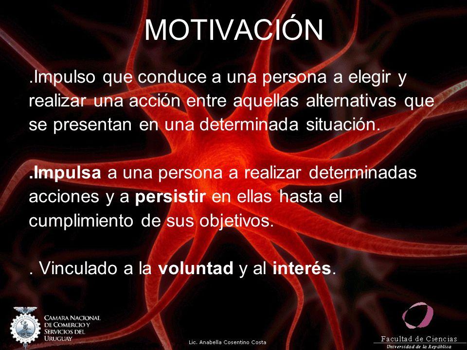 MOTIVACIÓN.Impulso que conduce a una persona a elegir y realizar una acción entre aquellas alternativas que se presentan en una determinada situación.