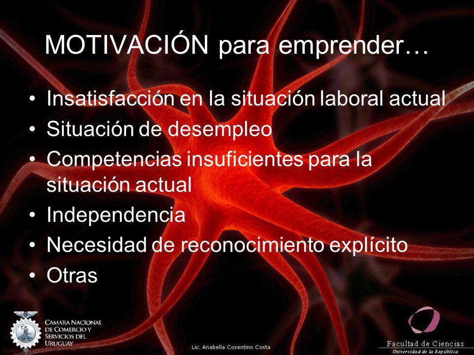 MOTIVACIÓN para emprender… Insatisfacción en la situación laboral actual Situación de desempleo Competencias insuficientes para la situación actual Independencia Necesidad de reconocimiento explícito Otras