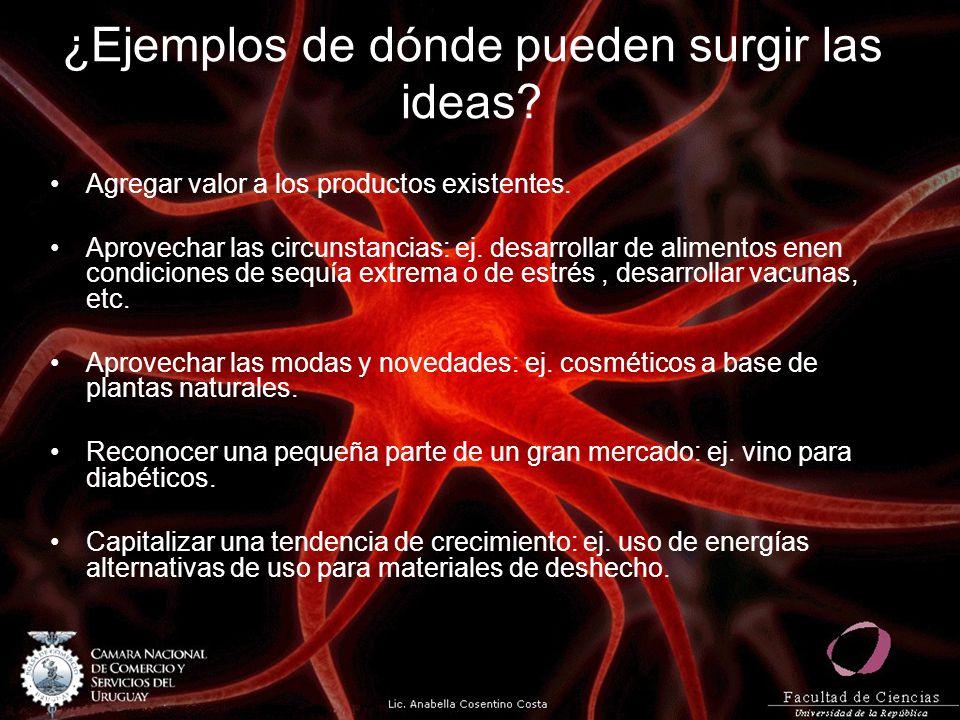 ¿Ejemplos de dónde pueden surgir las ideas? Agregar valor a los productos existentes. Aprovechar las circunstancias: ej. desarrollar de alimentos enen