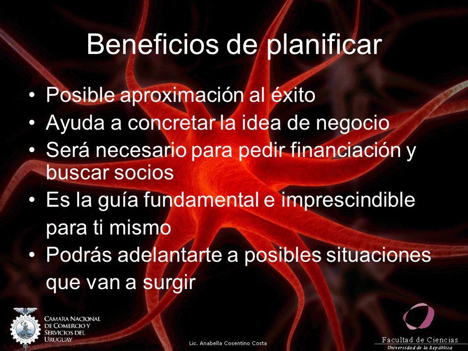 Beneficios de planificar Posible aproximación al éxito Ayuda a concretar la idea de negocio Será necesario para pedir financiación y buscar socios Es