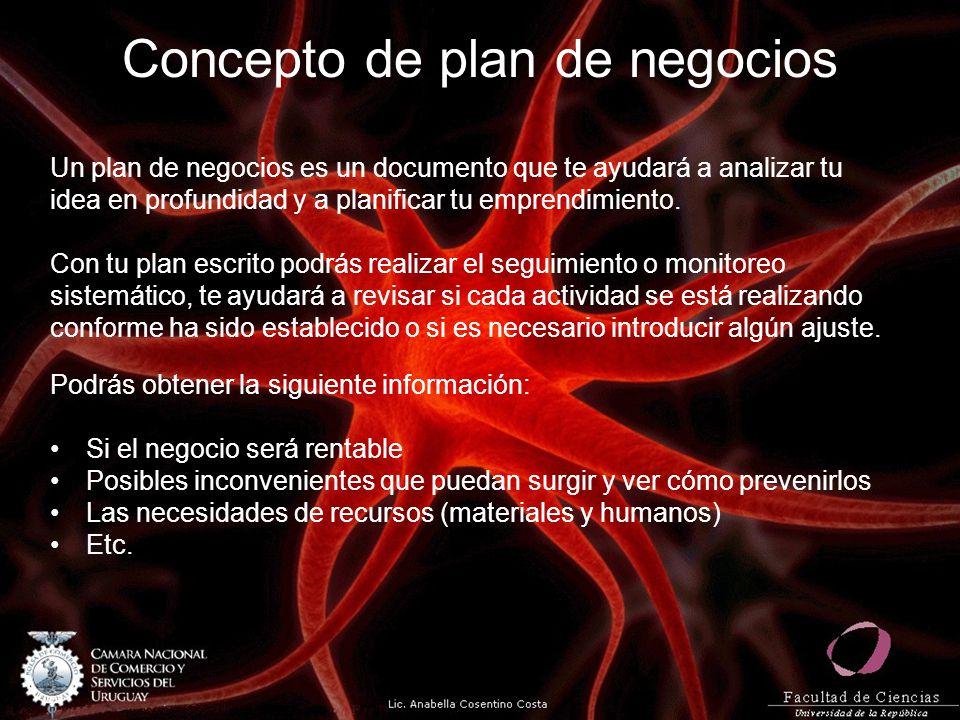Concepto de plan de negocios Un plan de negocios es un documento que te ayudará a analizar tu idea en profundidad y a planificar tu emprendimiento.