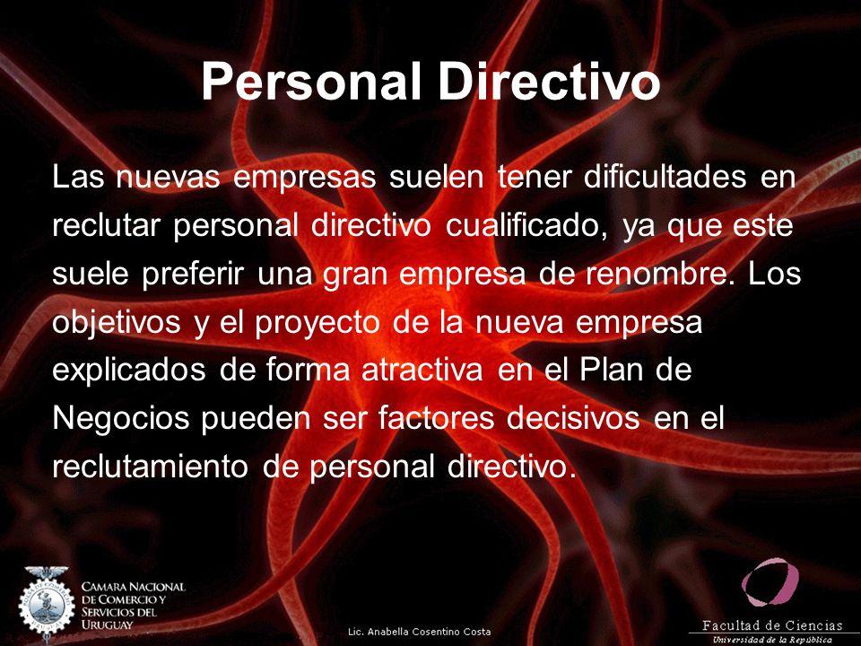 Personal Directivo Las nuevas empresas suelen tener dificultades en reclutar personal directivo cualificado, ya que este suele preferir una gran empre