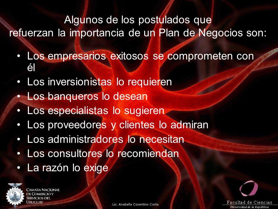 Algunos de los postulados que refuerzan la importancia de un Plan de Negocios son: Los empresarios exitosos se comprometen con él Los inversionistas l