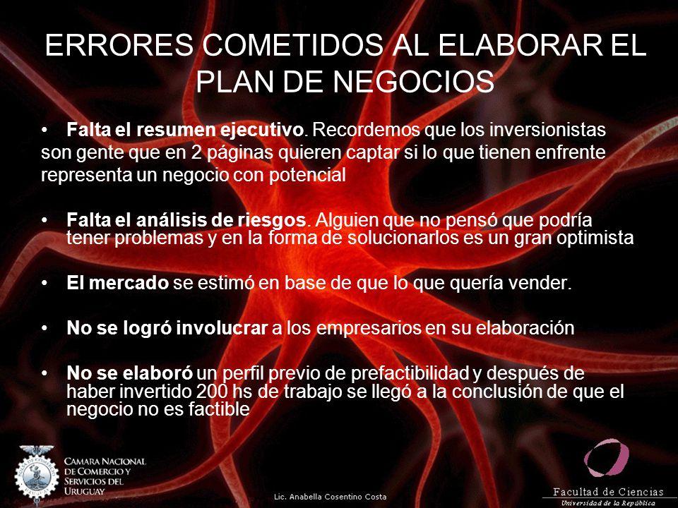 ERRORES COMETIDOS AL ELABORAR EL PLAN DE NEGOCIOS Falta el resumen ejecutivo.