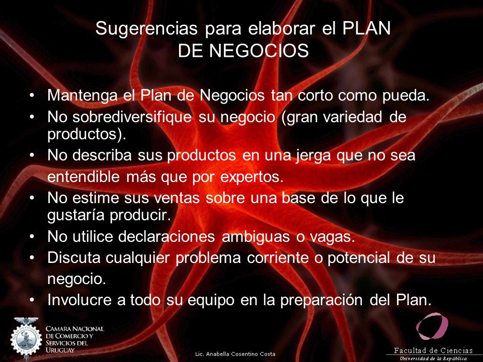 Sugerencias para elaborar el PLAN DE NEGOCIOS Mantenga el Plan de Negocios tan corto como pueda. No sobrediversifique su negocio (gran variedad de pro
