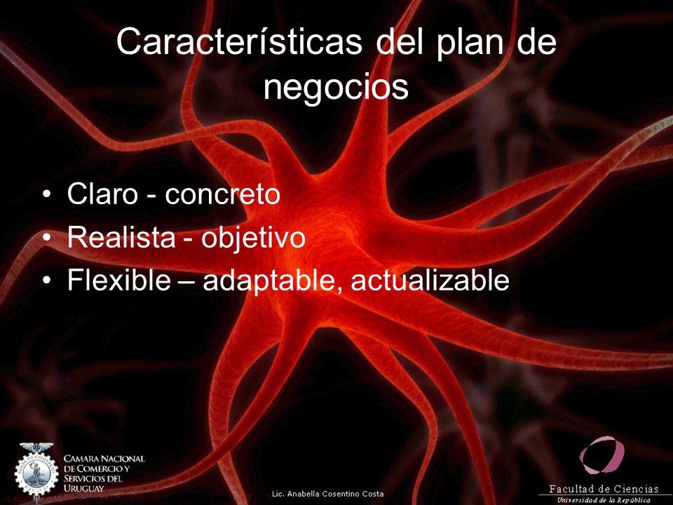 Características del plan de negocios Claro - concreto Realista - objetivo Flexible – adaptable, actualizable