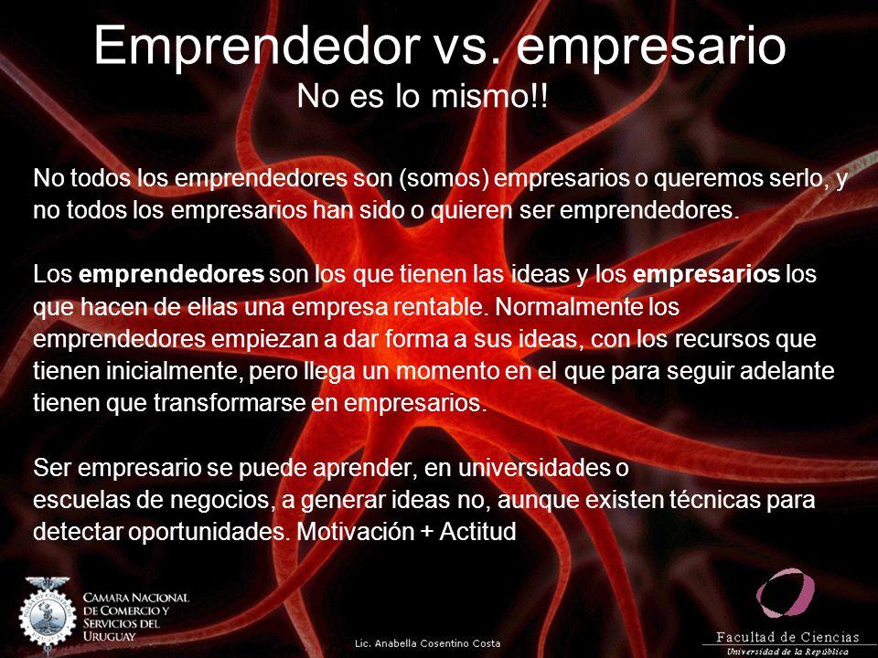 Emprendedor vs. empresario No es lo mismo!! No todos los emprendedores son (somos) empresarios o queremos serlo, y no todos los empresarios han sido o
