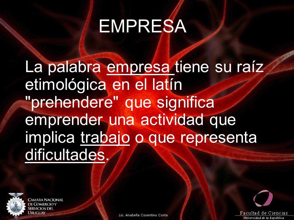 EMPRESA La palabra empresa tiene su raíz etimológica en el latín prehendere que significa emprender una actividad que implica trabajo o que representa dificultades.