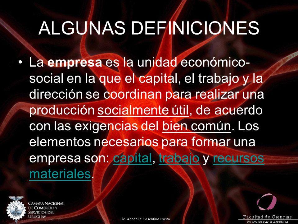 ALGUNAS DEFINICIONES La empresa es la unidad económico- social en la que el capital, el trabajo y la dirección se coordinan para realizar una producci