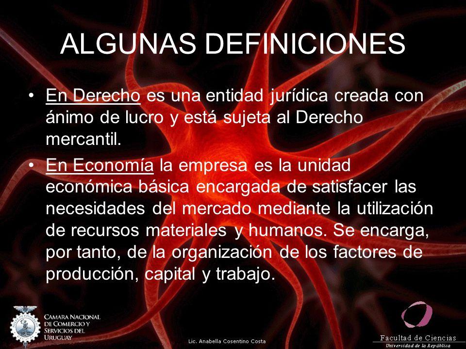 ALGUNAS DEFINICIONES En Derecho es una entidad jurídica creada con ánimo de lucro y está sujeta al Derecho mercantil. En Economía la empresa es la uni