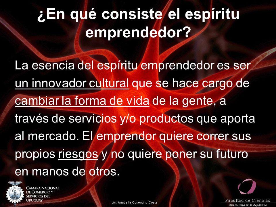 ¿En qué consiste el espíritu emprendedor? La esencia del espíritu emprendedor es ser un innovador cultural que se hace cargo de cambiar la forma de vi