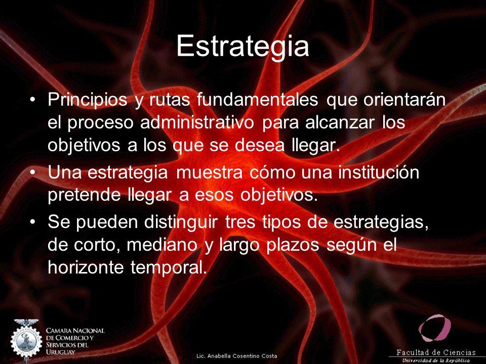 Estrategia Principios y rutas fundamentales que orientarán el proceso administrativo para alcanzar los objetivos a los que se desea llegar. Una estrat