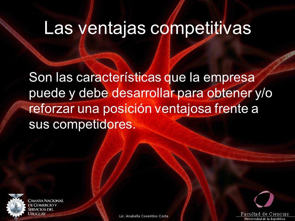 Las ventajas competitivas Son las características que la empresa puede y debe desarrollar para obtener y/o reforzar una posición ventajosa frente a su