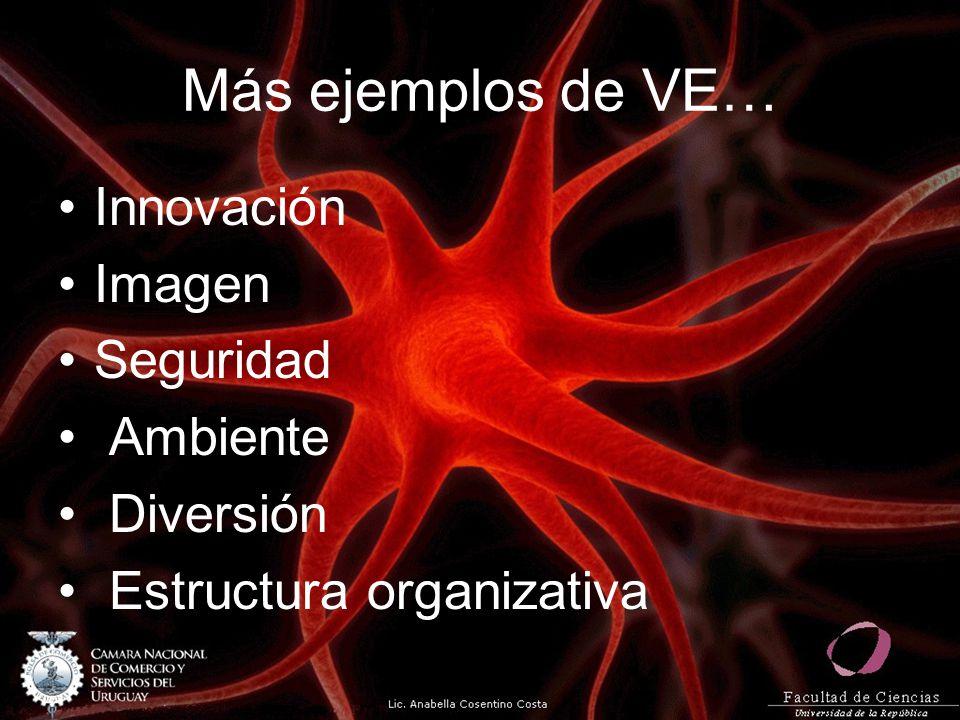 Más ejemplos de VE… Innovación Imagen Seguridad Ambiente Diversión Estructura organizativa