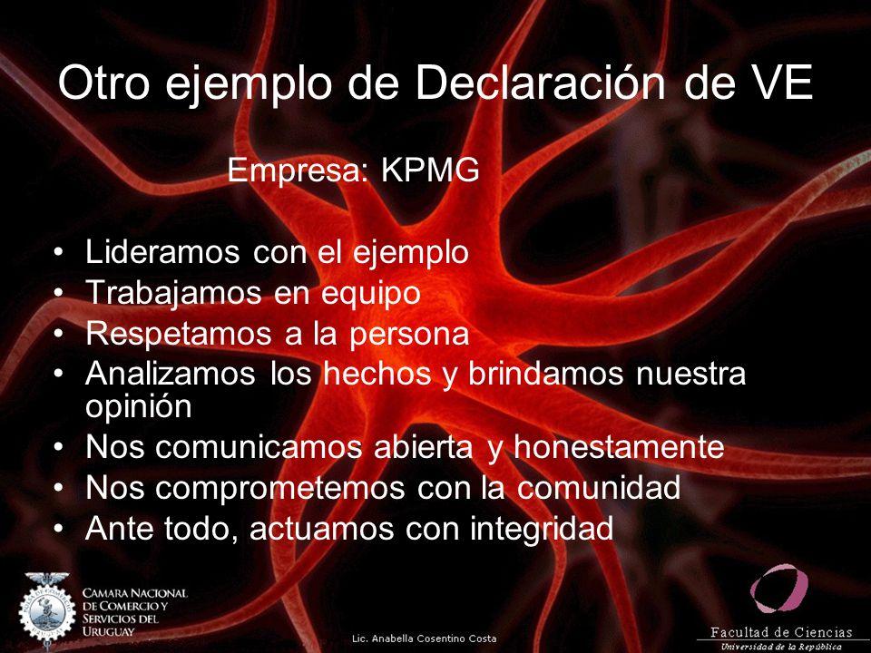 Otro ejemplo de Declaración de VE Empresa: KPMG Lideramos con el ejemplo Trabajamos en equipo Respetamos a la persona Analizamos los hechos y brindamos nuestra opinión Nos comunicamos abierta y honestamente Nos comprometemos con la comunidad Ante todo, actuamos con integridad