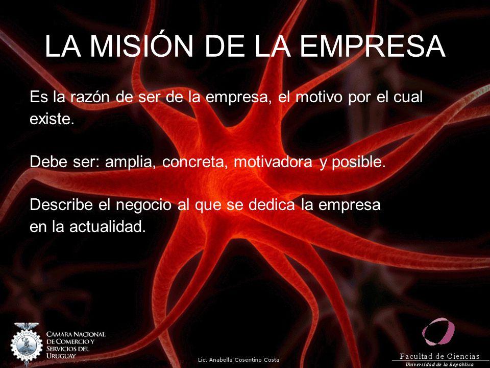 LA MISIÓN DE LA EMPRESA Es la razón de ser de la empresa, el motivo por el cual existe. Debe ser: amplia, concreta, motivadora y posible. Describe el