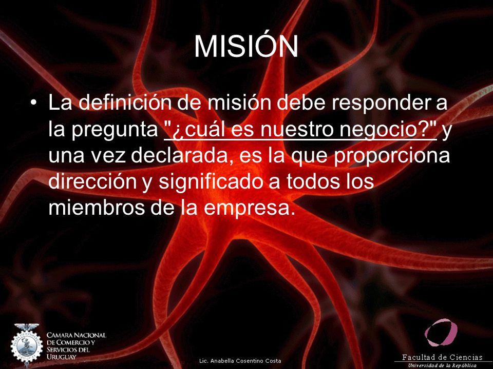 MISIÓN La definición de misión debe responder a la pregunta ¿cuál es nuestro negocio? y una vez declarada, es la que proporciona dirección y significado a todos los miembros de la empresa.