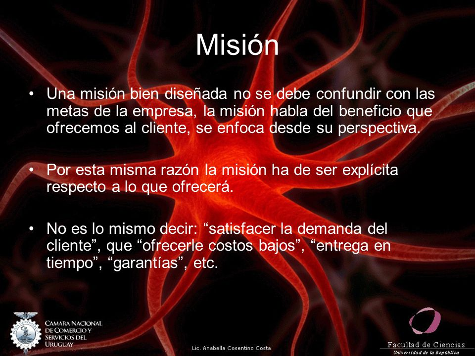 Misión Una misión bien diseñada no se debe confundir con las metas de la empresa, la misión habla del beneficio que ofrecemos al cliente, se enfoca de