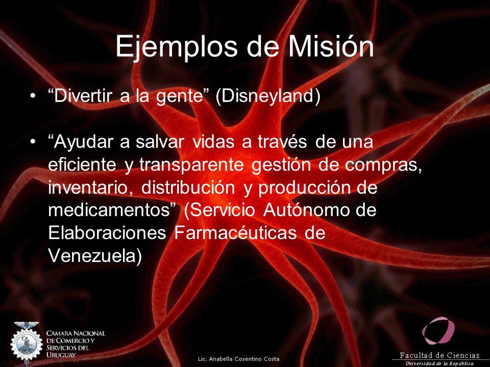 Ejemplos de Misión Divertir a la gente (Disneyland) Ayudar a salvar vidas a través de una eficiente y transparente gestión de compras, inventario, distribución y producción de medicamentos (Servicio Autónomo de Elaboraciones Farmacéuticas de Venezuela)