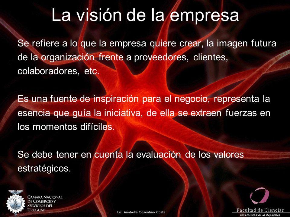 La visión de la empresa Se refiere a lo que la empresa quiere crear, la imagen futura de la organización frente a proveedores, clientes, colaboradores, etc.
