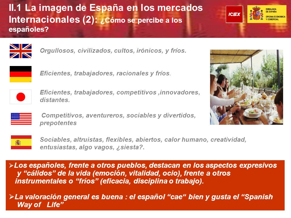 II.1 La imagen de España en los mercados Internacionales (2): ¿Cómo se percibe a los españoles.