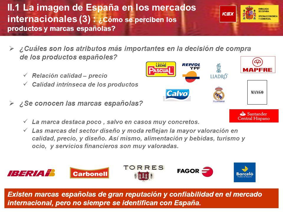 II.1 La imagen de España en los mercados Internacionales (4): ¿ Cual es la percepción de la imagen de España y el made in en los distintos mercados geográficos.