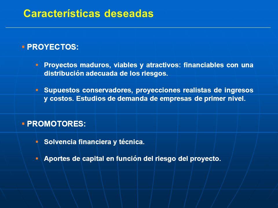 Características deseadas PROYECTOS: Proyectos maduros, viables y atractivos: financiables con una distribución adecuada de los riesgos.
