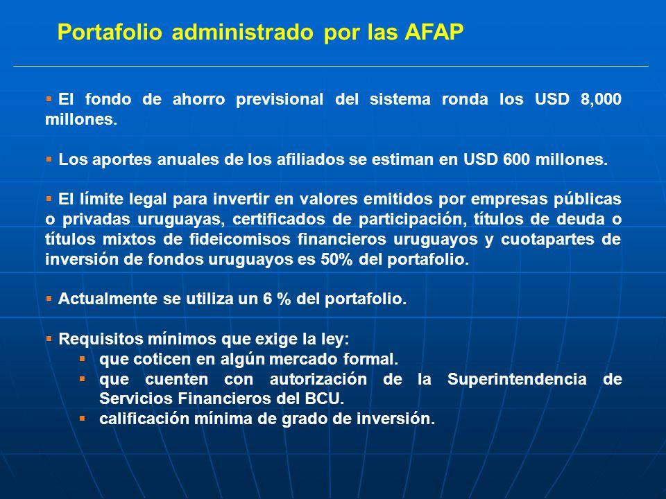 Portafolio administrado por las AFAP El fondo de ahorro previsional del sistema ronda los USD 8,000 millones.