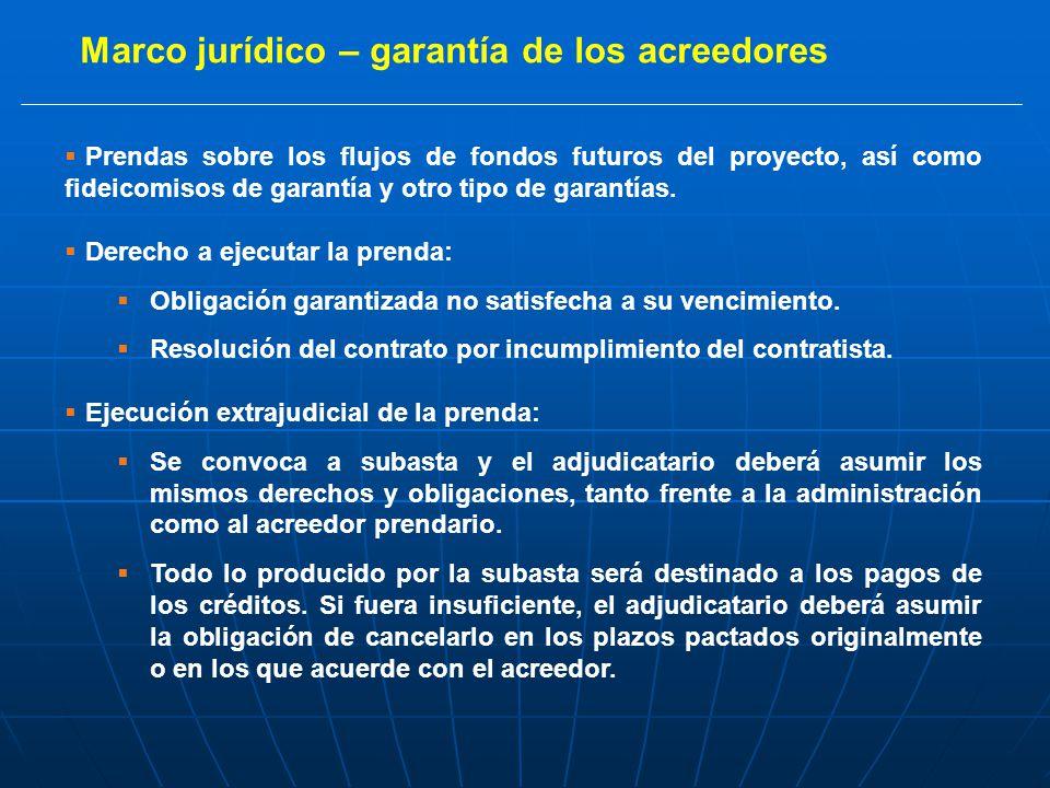 Marco jurídico – garantía de los acreedores Prendas sobre los flujos de fondos futuros del proyecto, así como fideicomisos de garantía y otro tipo de garantías.