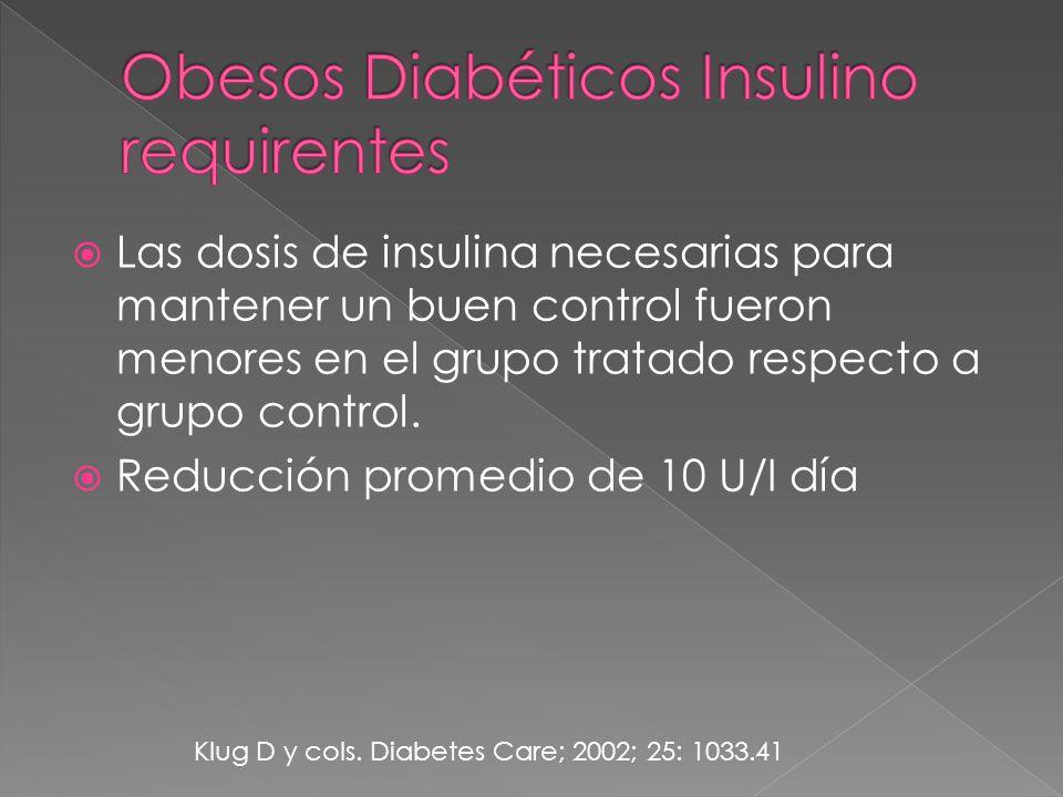 Las dosis de insulina necesarias para mantener un buen control fueron menores en el grupo tratado respecto a grupo control.